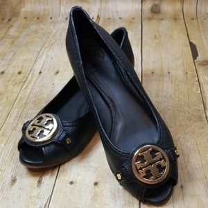 Tory Burch Leticia Peep Toe Low Wedge
